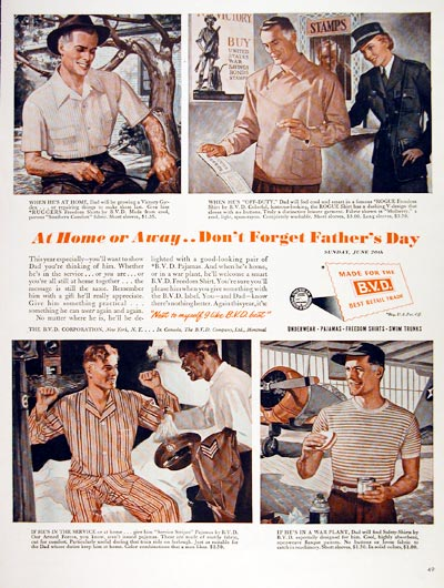 1943 bvd men's wear advertisement