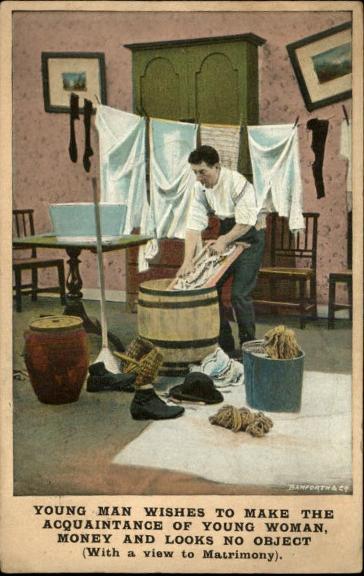 vintage man doing laundry post card