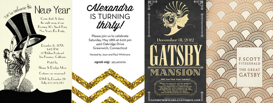 Gatsby theme party invitations